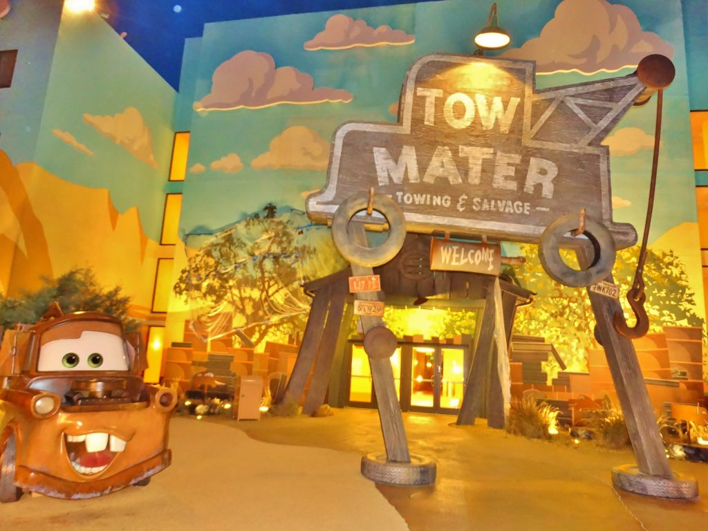 Tow Mater sign, in the Cars section at Disney's Art of Animation.