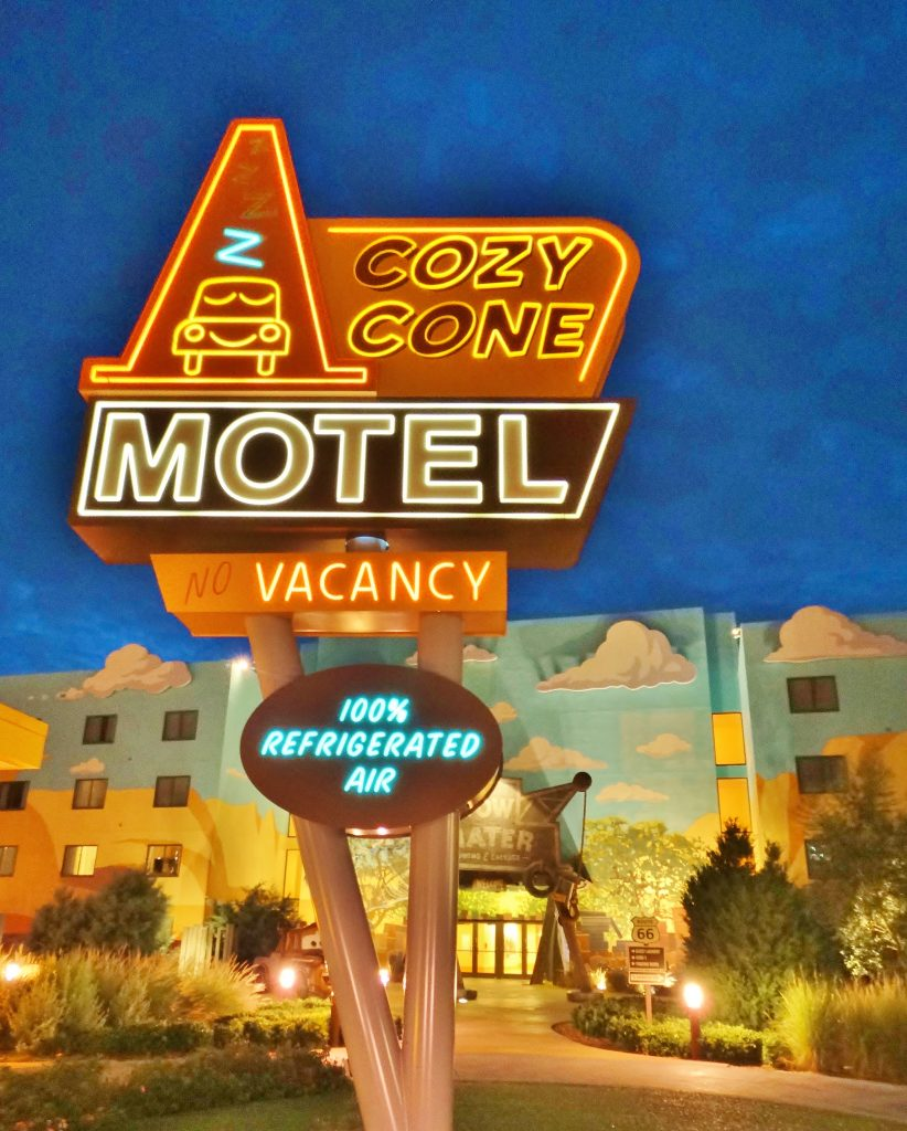 "Cars section ""Cozy Cone Motel"" sign"