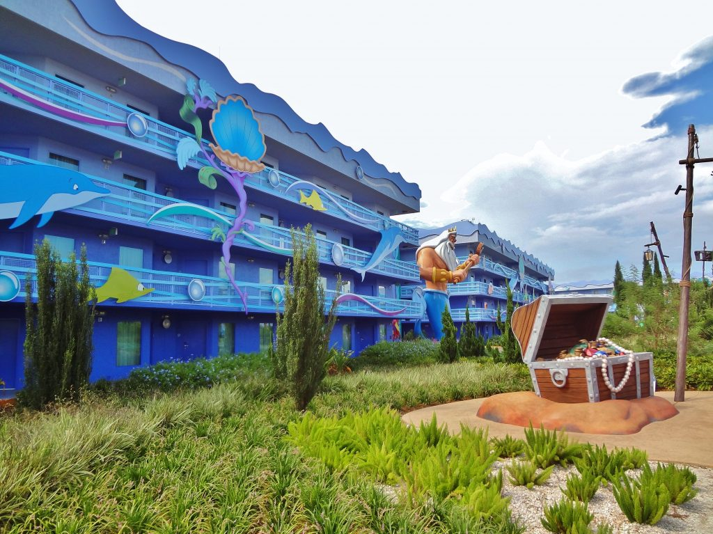 The Little Mermaid buildings only have exterior walkways.