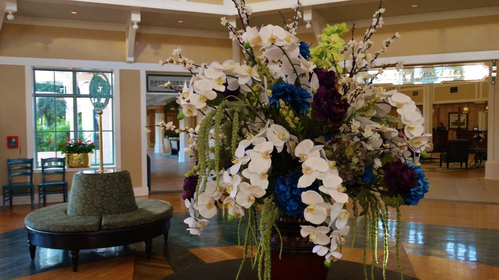 Flowers sitting in the beautiful lobby of Port Orleans Riverside Resort.