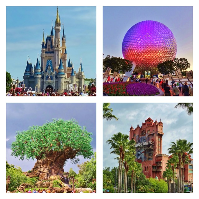 The four Disney park icons: Cinderella Castle, Spaceship Earth, the Tree of Life, and the Tower of Terror.