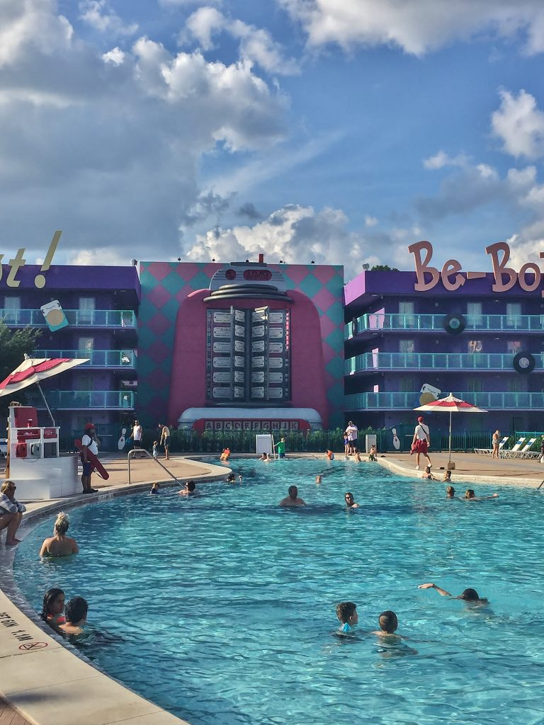 Pop Century 50s pool, themed to a jukebox and bowling pins.