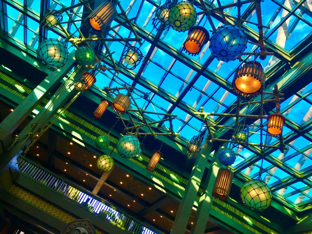 Lanterns on the ceiling of the lobby at Disney's Polynesian Village, a Deluxe Resort.