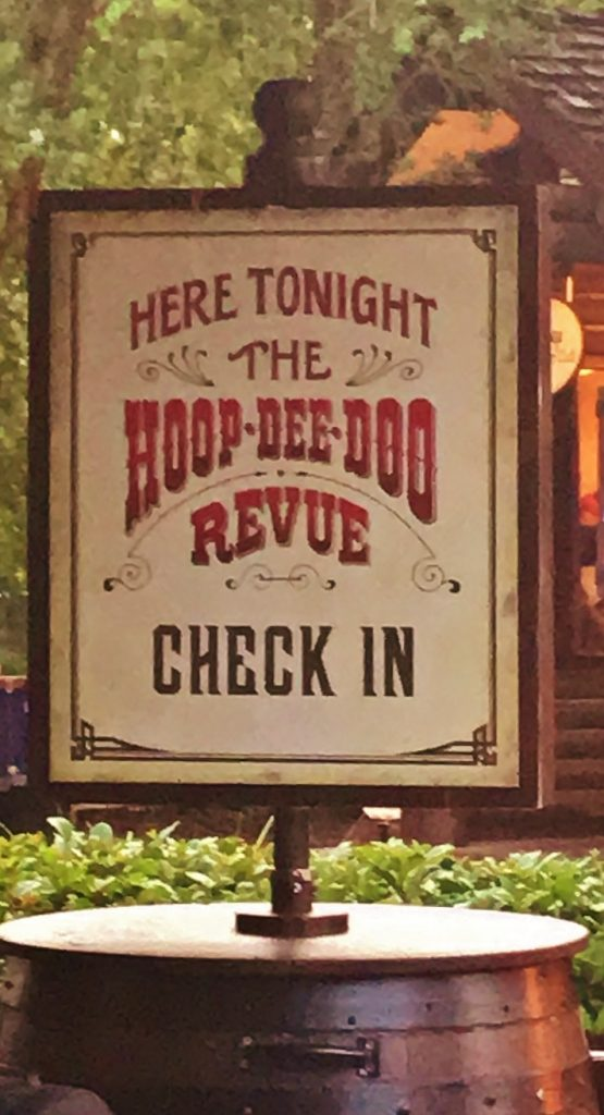 Hoop-Dee-Doo Revue check in sign