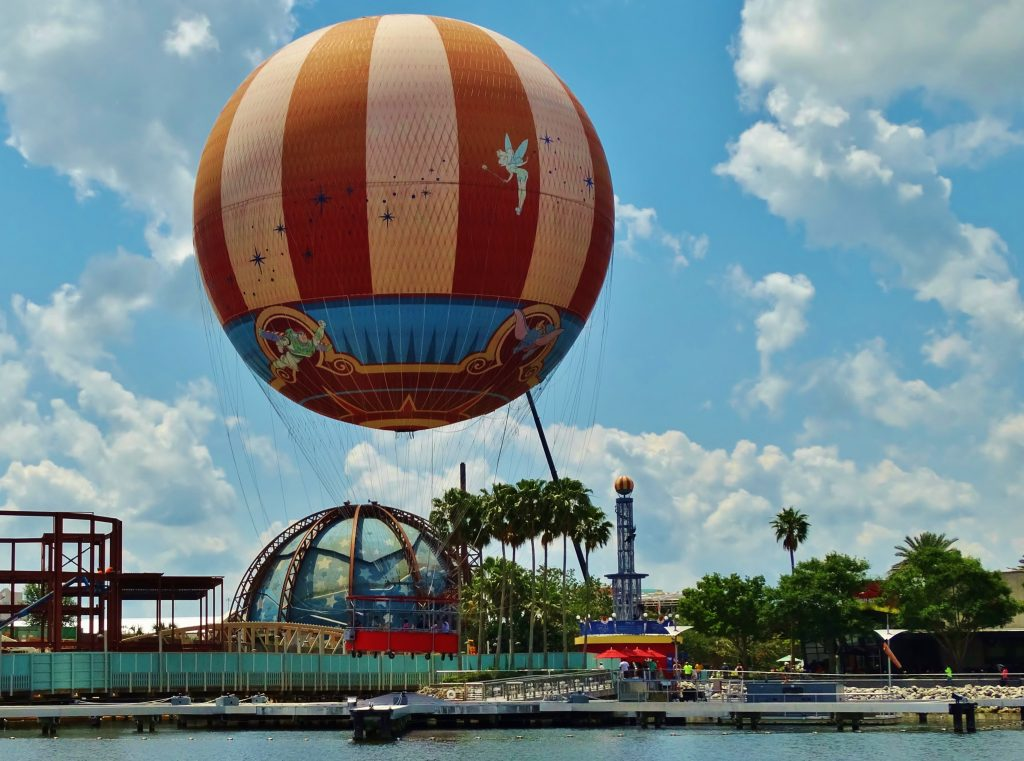 The hot air balloon, located at Disney Springs, flies above Planet Hollywood and the rest of the construction.