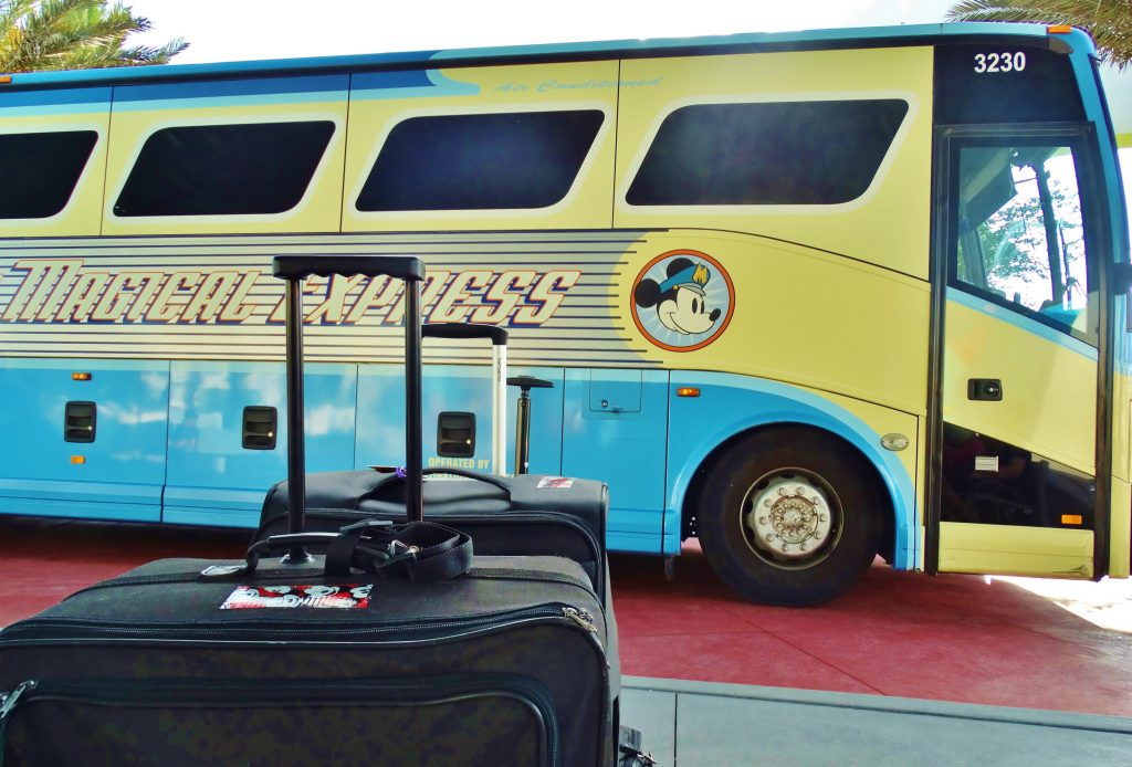 Luggage sits ready to be packed on the Magical Express bus.